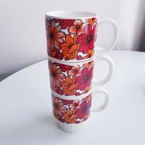 Vintage 60s/70s Japanese stacking coffee mugs